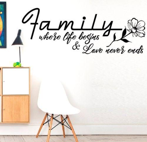 Familie, in der das Leben zu Hause beginnt Herz Leben Wandaufkleber Aufkleber Vinyl Art Decor Wandaufkleber Home Decor Wohnzimmer