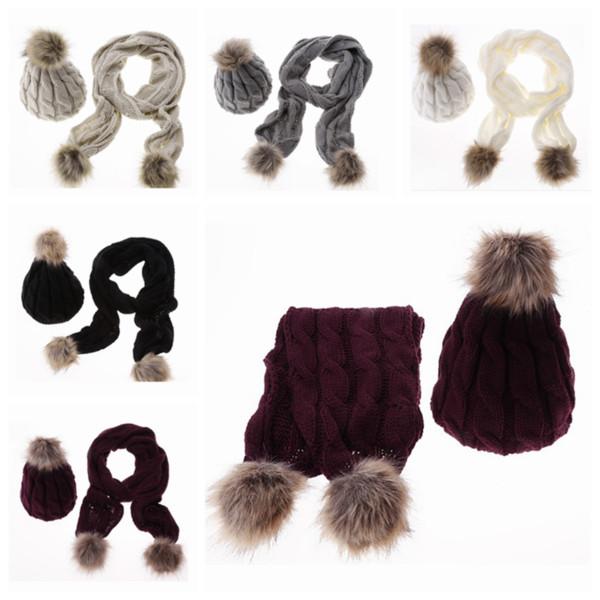 Inverno Primavera Quente Engrosse Crochet Malha Cachecóis Conjuntos de Chapéus Pom Pom Gorros Cap Cachecol para Mulheres Ao Ar Livre Vestir Chapéu de Condução ZZA847