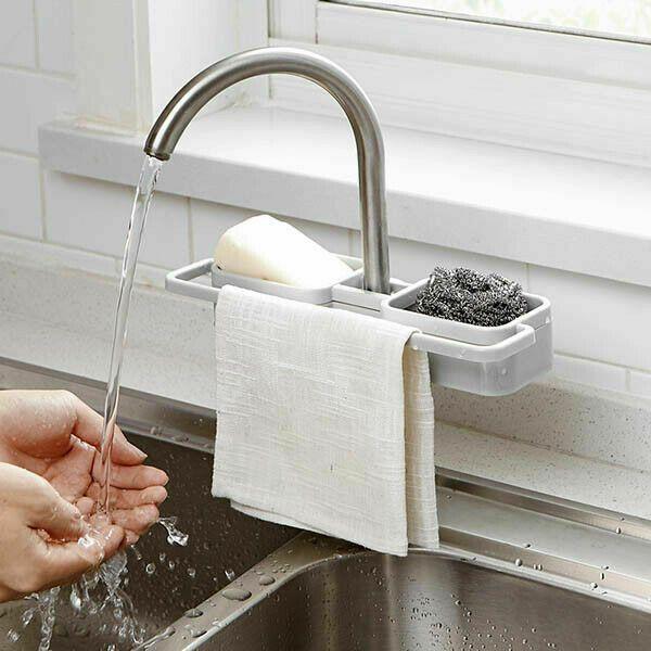 Évier de cuisine / Robinet éponge savon de stockage Organisateur tissu Porte-Égoutter rack étagère