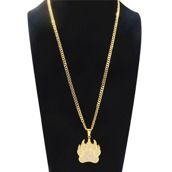 Lindo oso pata collar colgante para hombres Hip Hop huella Rhinestone collar largo geométrico chapado en oro de aleación de accesorios de joyería al por mayor