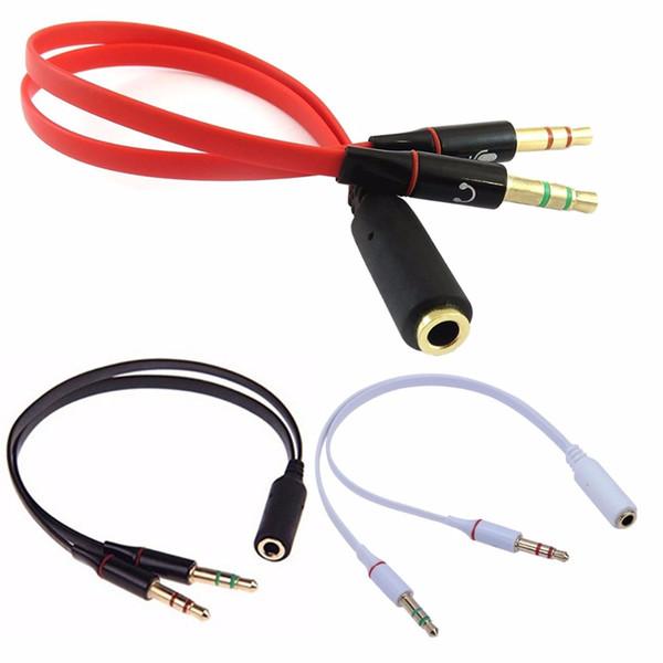 3,5 mm Stereo Audio Y Splitter 2 Klinkenstecker auf 1 Klinkenbuchse Mikrofon Audio Adapter Verlängerungskabel für Computer Headset Telefon