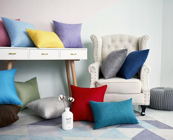 Moda di lusso Bianco Nero Grigio Cotone Lino Cuscino Cuscino Copricuscino Home Decorativo Divano Sedia Throw Seat