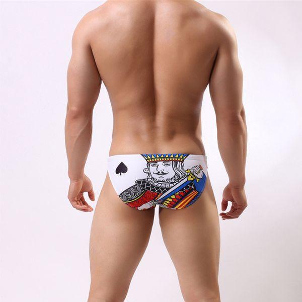 Wd180 New 2018 Sexy Low Waist Men Swimwear Cards Printing Swimsuit Beach Board Surfing Men Swim Trunk Shorts Briefs Bathing Suit Y19062901