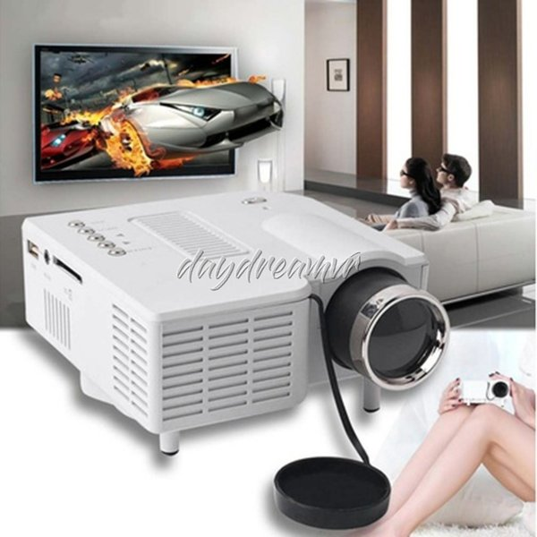 Mini UC28+ Portable 1080P HD Projector Home Cinema Theater Multi-media Player 1080P Home Theater Game Supports VGA HDMI USB TF easy carry