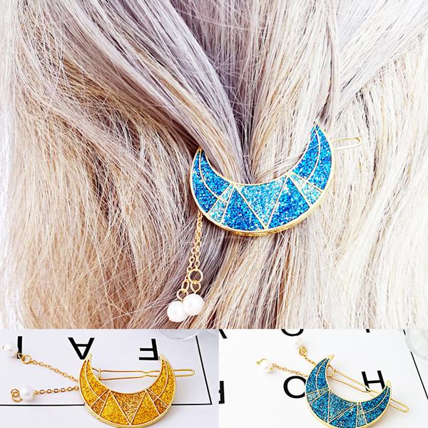 Nouveau élégant Glitter Perle Lune cheveux clip mignon émail croissant de lune en forme de pince Broche Accessoires cheveux Femme Barrette Bijoux