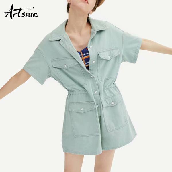 Tuta casual da donna con tasche doppie streetwear Artsnie autunno 2019 2019 jeans a vita alta con bottoni a manica corta con bottoni