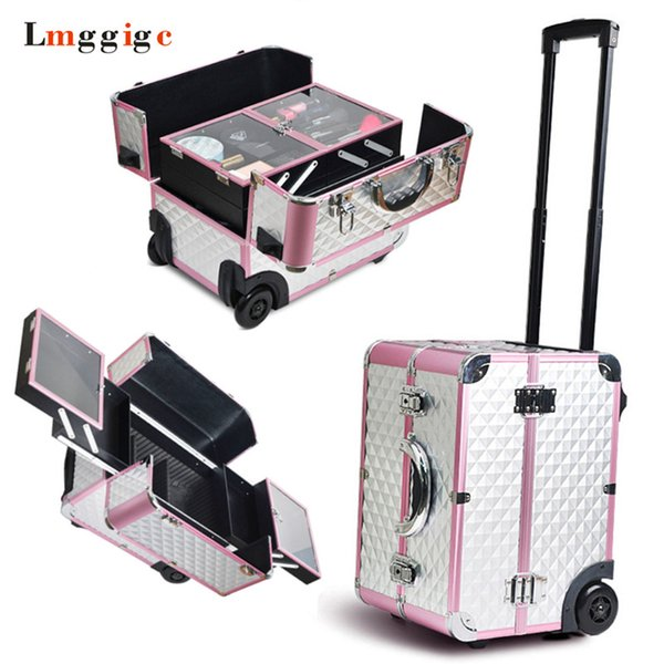 Makeup artist Box, Rolling Cosmetic Bags,Wheel Make-up Case,Cabin Nails Toolbox ,Beauty Suitcase ,Aluminum frame + PVC Luggage