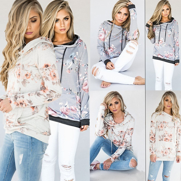 top popular Women floral blouses Casual Hoodies Tops Floral Printed Long Sleeve Pocket Drawstring Pullover Sweatshirt with Pocket Female cute tops 2020