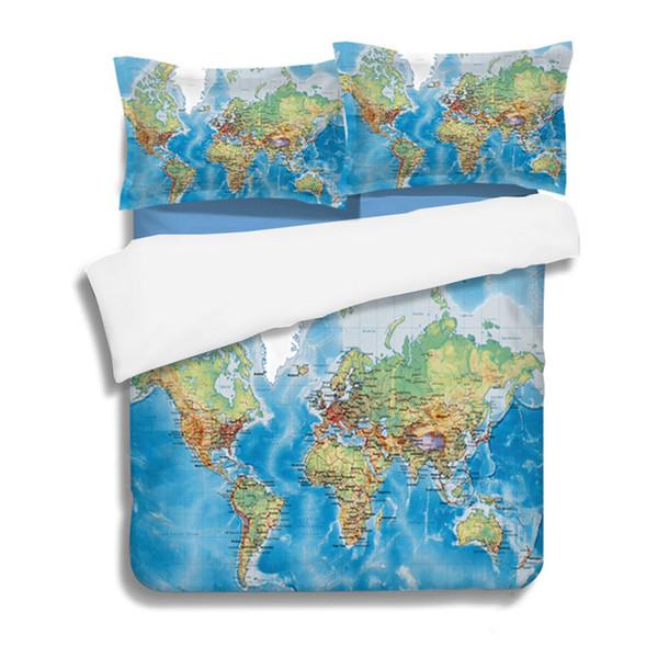 Blue map Digital print Bedding Set Quilt Cover Design Bed Set Bohemian a Mini Van Bedclothes 3pcs BE1259