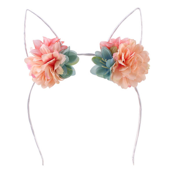 Cat ears baby headbands floral girls designer headband sweet designer headbands kids head bands designer hair accessories Hair Sticks A4836