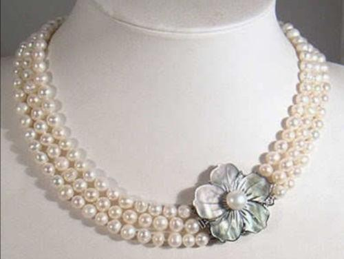 LiiJi Unique New 3 Rows 6-7mm White Freshwater Pearl Necklace Shell Flower Clasp 18''-20''