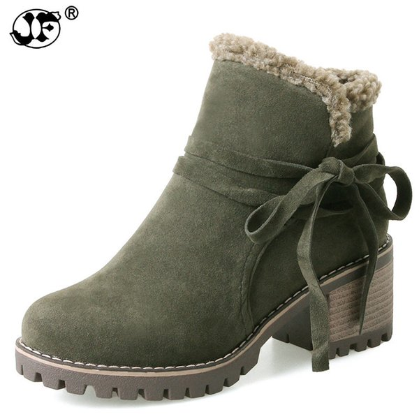 platform ankle boots for women new round toe high heel 6cm lace up Martin boots army green Square heel women's shoes 966