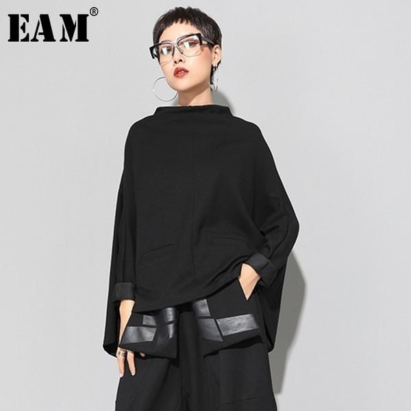 [eam] 2019 New Spring Stand Collar Long Sleeve Black Loose Irregular Big Size Cloak Sweatshirt Women Fashion Tide Ji949MX190821