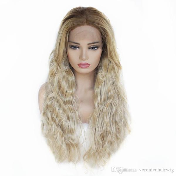 Ucuz 27 mix 613 # Sarışın Uzun Vücut Dalga Saç Ombre Sentetik Dantel Ön Peruk Bebek Saç Peruk ile Siyah Kadınlar için Isıya Dayanıklı