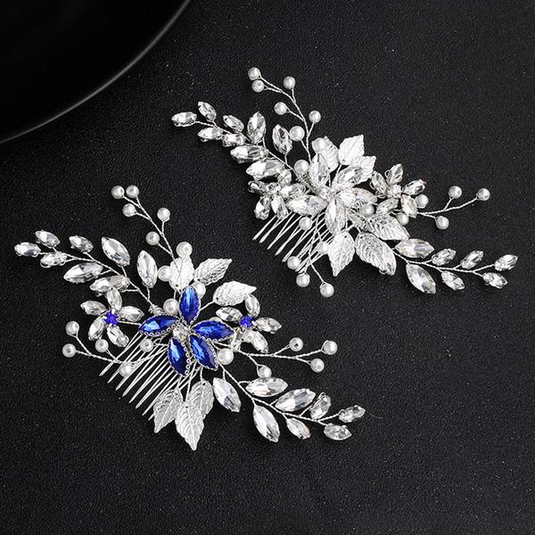 2020 Simple bridal hair accessories blue diamond hair comb bridal hair comb wedding dress accessories Free Shipping