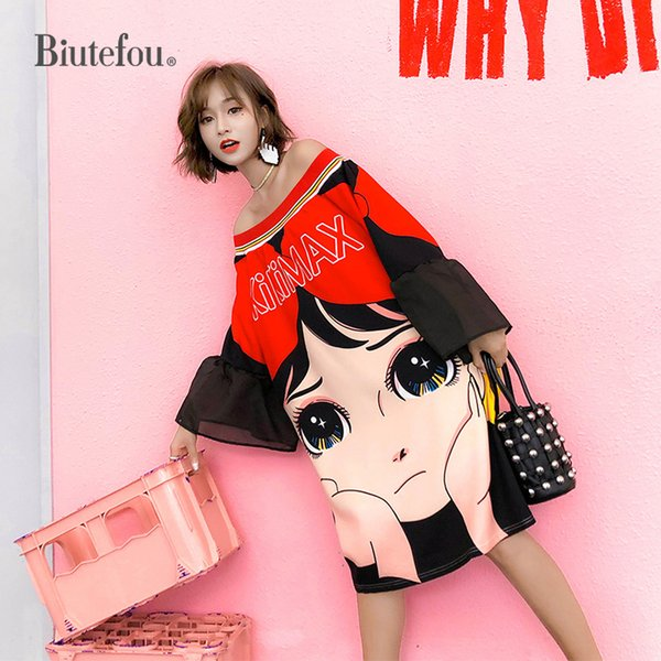 2019 Estate Cartoon stampa abiti manica flare Fashion Slash Neck donna Chic abiti Y19052703