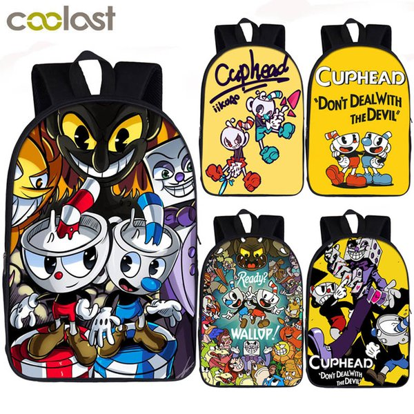 funny cuphead / mughead print backpack for teenager boys girls children school bags laptop backpack casual daypack kids book bagMX190903