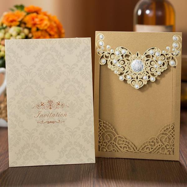 Carte per inviti di nozze vuote con taglio laser in oro di buona qualità a buon mercato per gli inviti di nozze di 15 Quinceanera di compleanno di fidanzamento di affari