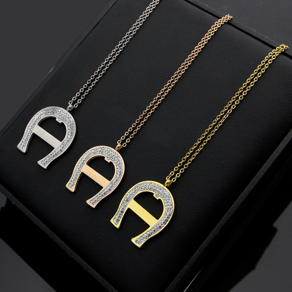 New Arrive Fashion Lady 316L Titanium steel 18K Plated Gold Necklaces With Full Diamond U-shaped A Letter Pendant