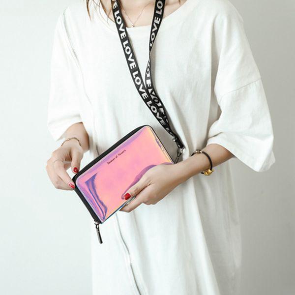 2018 Fashion Lanyard Purse for Women Leather Long Clutch Wallet Hologram Laser Silver Phone Bag Student Folding Organizer Purses