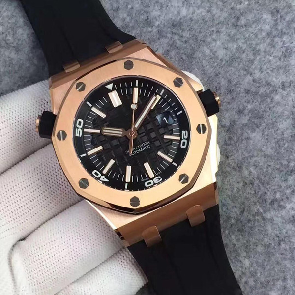 Free Limited Royal Oak Offshore Diver Automatic Mechanical Movement Watches Gold Black Watch Rubber Belt 42mm V5 Mens Wristwatch