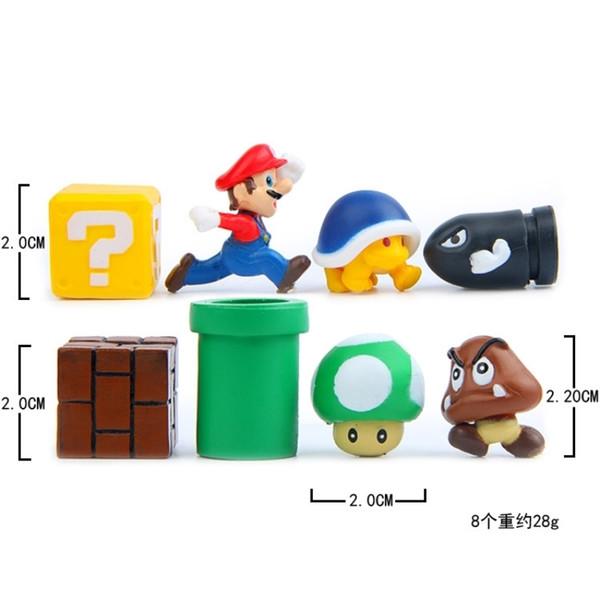 Brother Super Mario Bros Mushroom Toad Mini Action Figures Mario Nendoroid Pvc Birthday Decorations Toys Yoshi Question Mini Blocks Toy