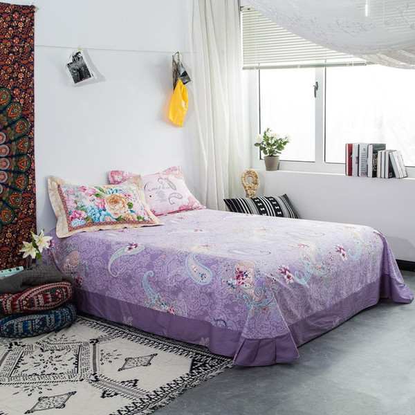 Cartoon cotton blue bed sheet king size High-quality flat sheets set bed linen bedding bedsheet purple flower animal decoration