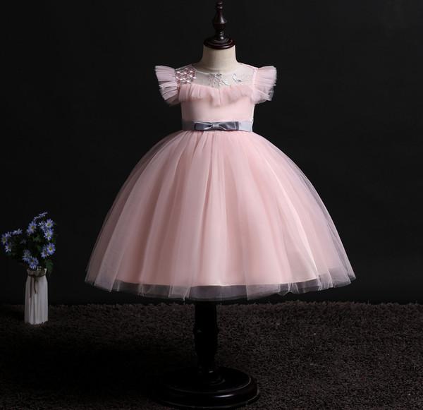 Yaz Kısa Kız Elbise Düğün Parti Prenses Küçük Prenses Yürüyor Çocuk Giyim Kırmızı Mavi Pembe Tül Elbise Kız