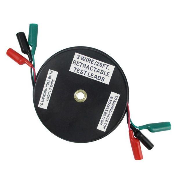 Durable Practical Test Lead Extensão Ferramenta retrátil Reel Wire carro portátil Reparação Três Chuck Auto Multímetro Acessório