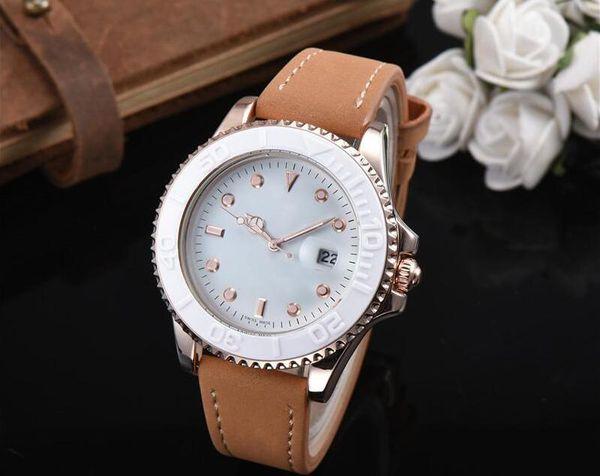 Hombres de lujo vestidos de mujer relojes con correa de cuero de moda diseñador de la marca juvenil relojes de pulsera Uomini orologi sport