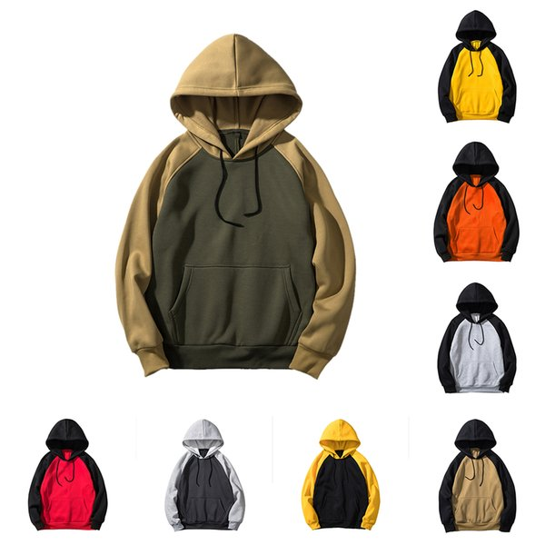 Laamei 2019 Brand New Streetwear Cotton Patchwork Hoodies Men Hip Hop Hooded Solid Casual Hoody Mens Autumn Sweatshirts EU Size