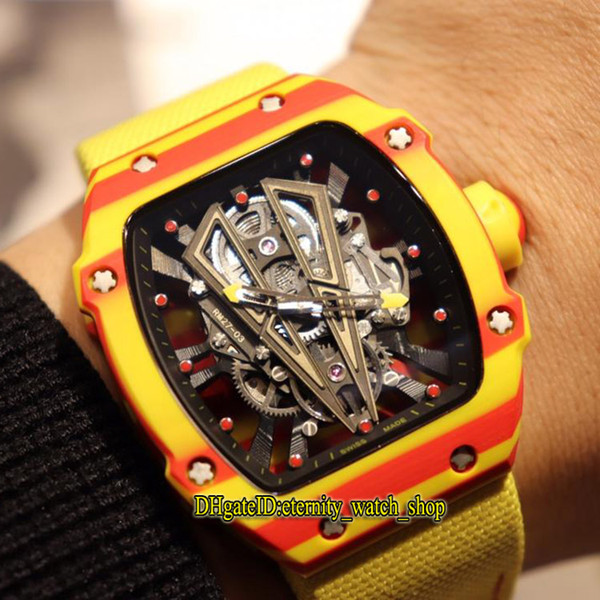 Best Edition RM 27-03 Rafael Nadal NTPT Red Yellow Carbon Fiber Case Skeleton Dial Miyota Automatic RM27-03 Mens Watch Nylon Leather Watches