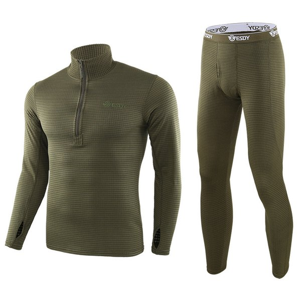Winter Men Thermal Underwear Outdoor Square Shake Fleece Shirt Pants Suit Sports Cycling Tactical Combat Training Keep Warm Sets