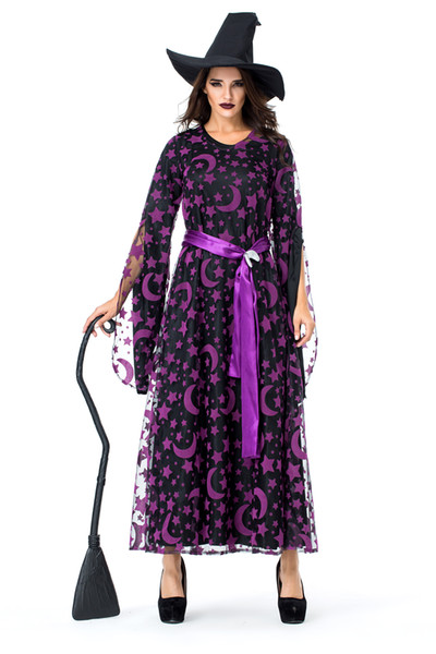 Glamcare Halloween Purple Star Moon Magic Witch Euro-American Night Club Party Witch Game Costume