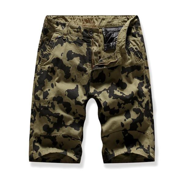 Camouflage Board Shorts For Men Casual Multi-pocket Tooling beach Cargo Shorts Men Navy green Gray
