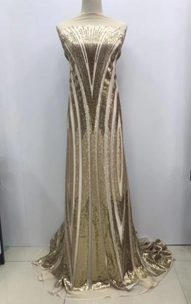2019 nouvelle mode !! Paillettes d'or maille net tissu de dentelle afro suisse voile robe de soirée de bal dentelle broderie inde paillettes tissu