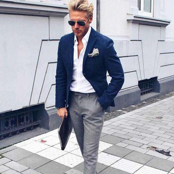 Peaked Lapel Blue Men Business Suits Wedding Terno Masculino 2Piece(Jacket+Pants)Groom Wedding Tuxedo Suits Men Blazer Custom Costume Homme