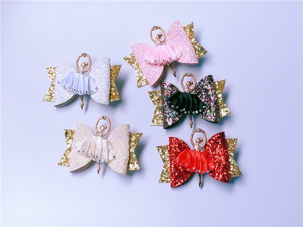Boutique ins 10pcs Fashion Luxury Glitter Bow Hairpins Solid Fairy Ballet Girl Bowknot Hair Clips Princess Hair Accessories