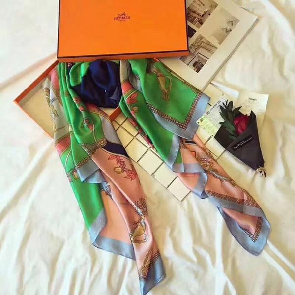 Lenços das senhoras da marca de alta qualidade 100% pure silk classic lenço impresso Moda tudo-em-um viagem praia xale lenços de seda 90 * 180 cm sem caixa