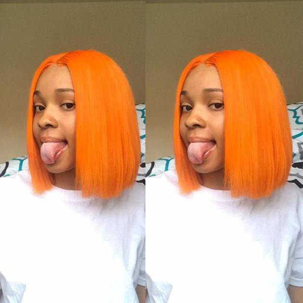 Orange Bob Short Full Lace Human Hair Wigs For Black Women Raw Indian Virgin Hair Short Lace Front Wigs 130% Density