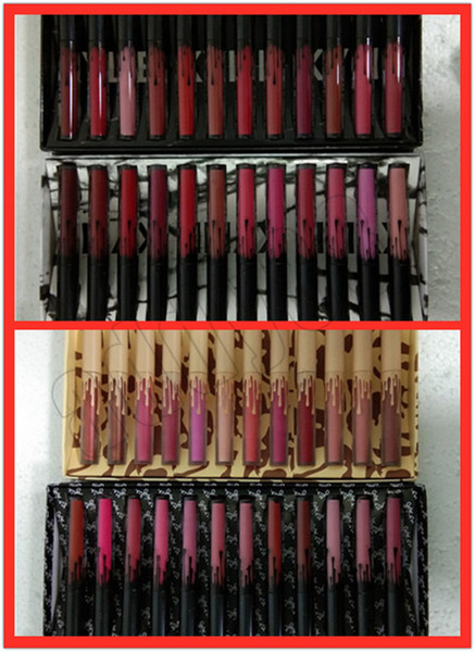 Lip makeup high quality fa hion kl 12 color lipglo et 12 pc matte lip glo liquid lip tick et edition dhl hipping