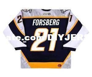 Mens, Womens, Crianças-PETER FORSBERG Nashville Predators 2006 CCM MN Personalizado Qualquer nomeNão. Hockey Custom JerseysGoalit Cut Jerseys