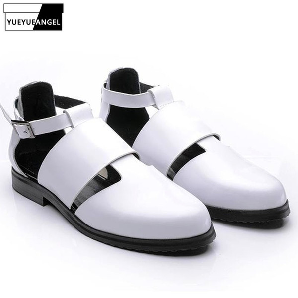 Sytlish Mens Leather Pointy Toe Gladiators Sandal Male Cut Out Breathable Buckle Roman Sandals Shoes Black Burgundy Free Ship #57006