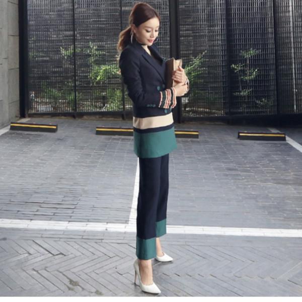 2018 Automne Femmes 2 Pièce Pantalon Costumes Femmes Casual Bureau Costumes D'affaires De Travail Formel Porter Des Ensembles Élégant Pantalon Vestidos Mujer