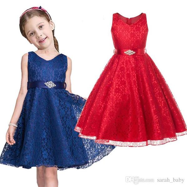 2018 Yeni Yaz çocuk Elbiseler Avrupa Amerika Kız Prenses Kolsuz Dantel Katı V Yaka Kısa Günlük A-Line Elbise Çiçek Kız '
