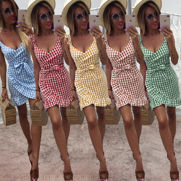 2019 Summer designer dresses Checked dress Lotus leaf skirt Sexy backless Fashion Hot selling WomenclothesChinafactory Free DHL
