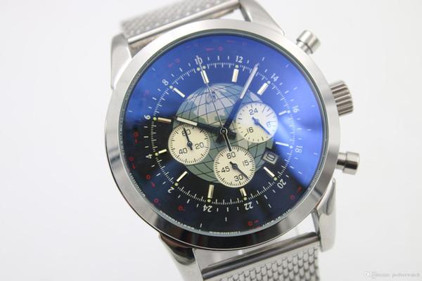 Top qualidade Chronograph Men Watch Prata Staimless Belt Silver Skeleton Black Dial Voltar e White Pointer Trend relógios