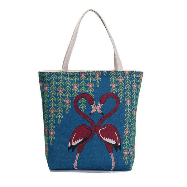 good quality Casual Women Tote Handbag Canvas Design Flamingo Printed Shoulder Bag Female Daily Use Large Capacity Shopping Bag