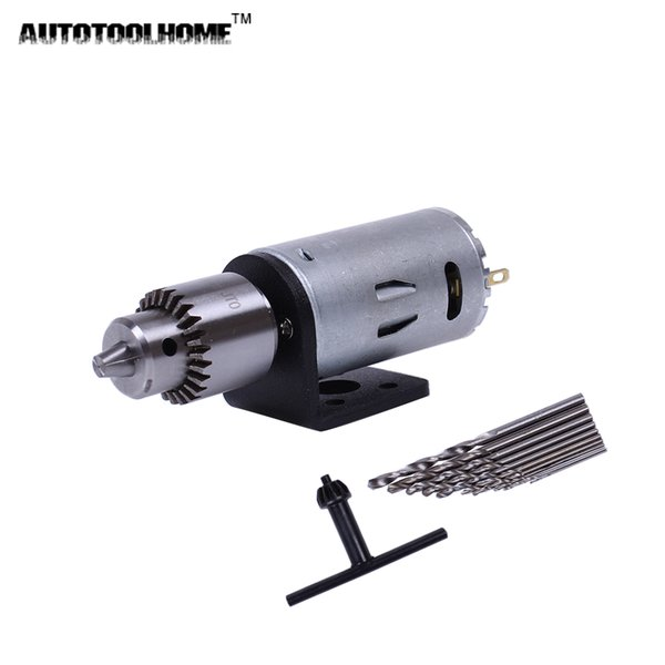chuck chuck AUTOTOOLHOME Mini DC 12V Electric Motor for Wood PCB Hand Drill Press Drilling 0.5-3mm Twist Bits and JTO Chucks Bracket Stand