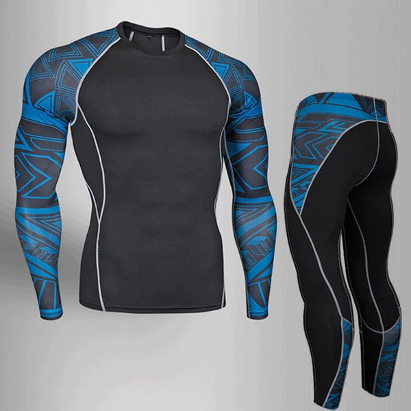 Mens Compression Set Running Tights Workout Fitness Training Tracksuit Long Sleeves Shirts Sport Suit Male Rashgard Clothes